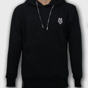 hoodie-premium-wolf-noir-detail-fermeture-avant-lacets boutique streetwear