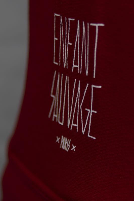 enfant-sauvage-veste-hoodi-wolf-rouge-logo-marque boutique streetwear vetements de sport