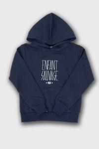 sweat-hoodie-authentique-enfant-sauvage-marine boutique streetwear