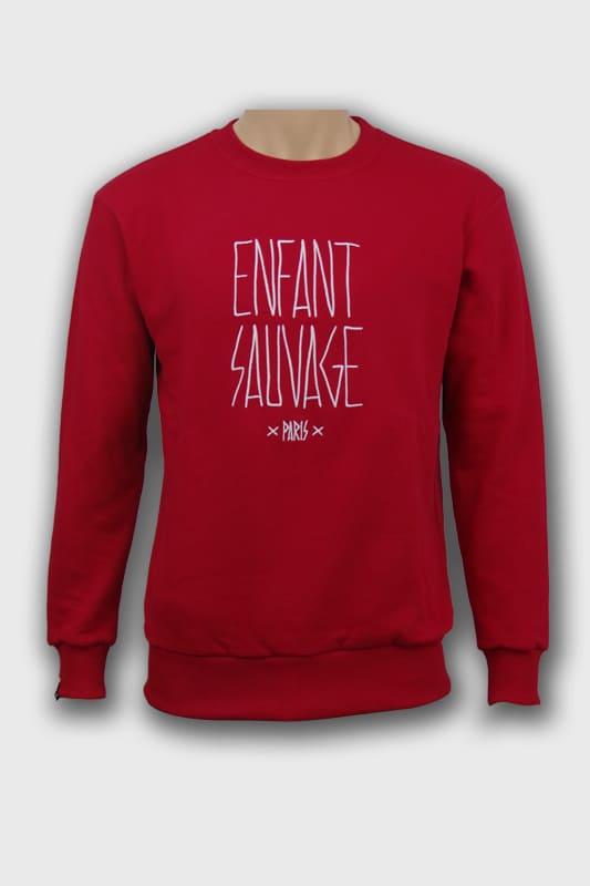 sweat-roundneck-authentique-rouge-face-avant-logo-loup-blanc