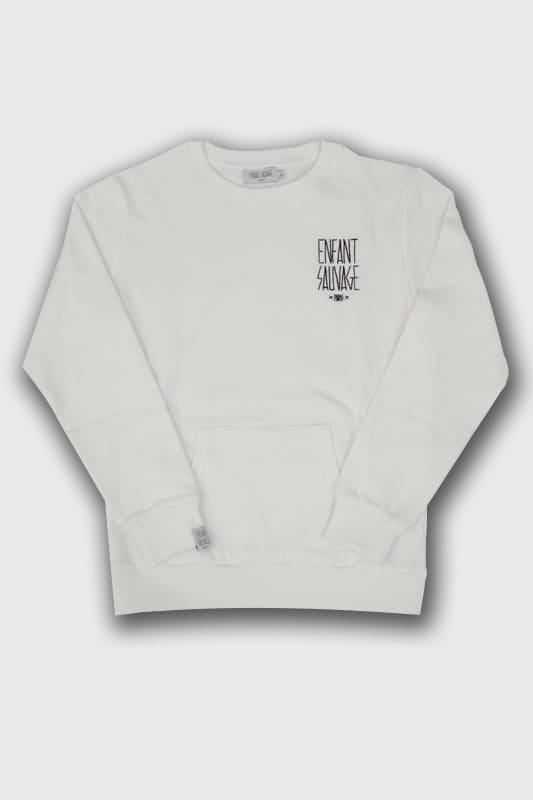 sweat-roundneck-classic-pocket-child-blanc-enfant-urbain boutique streetwear