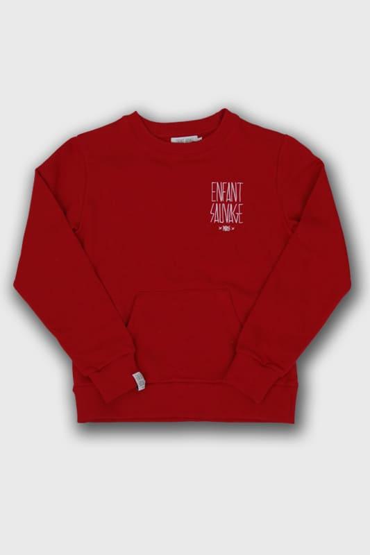 sweat-roundneck-classic-pocket-child-rouge-enfant-urbain boutique streetwear