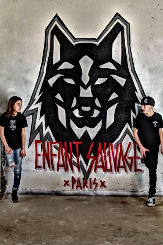 graffiti-mur-logo-loup-enfant-sauvage-hugo-clara-boutique-streetwear
