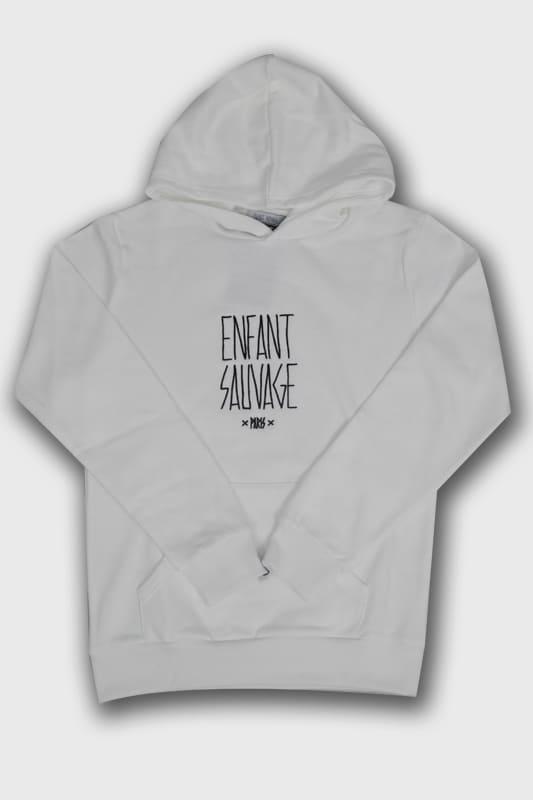 hoodie authentique child blanc logo boutique en ligne streetwear pret a porter