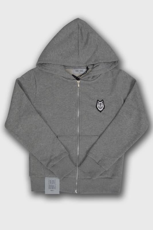 veste hoodie child wolf gris manches longues capuche noir boutique steetwear