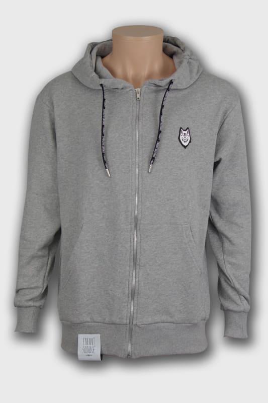 veste hoodie wolf gris manches longues noir steetwear