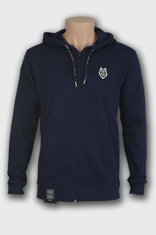 veste hoodie wolf marine manches longues noir steetwear